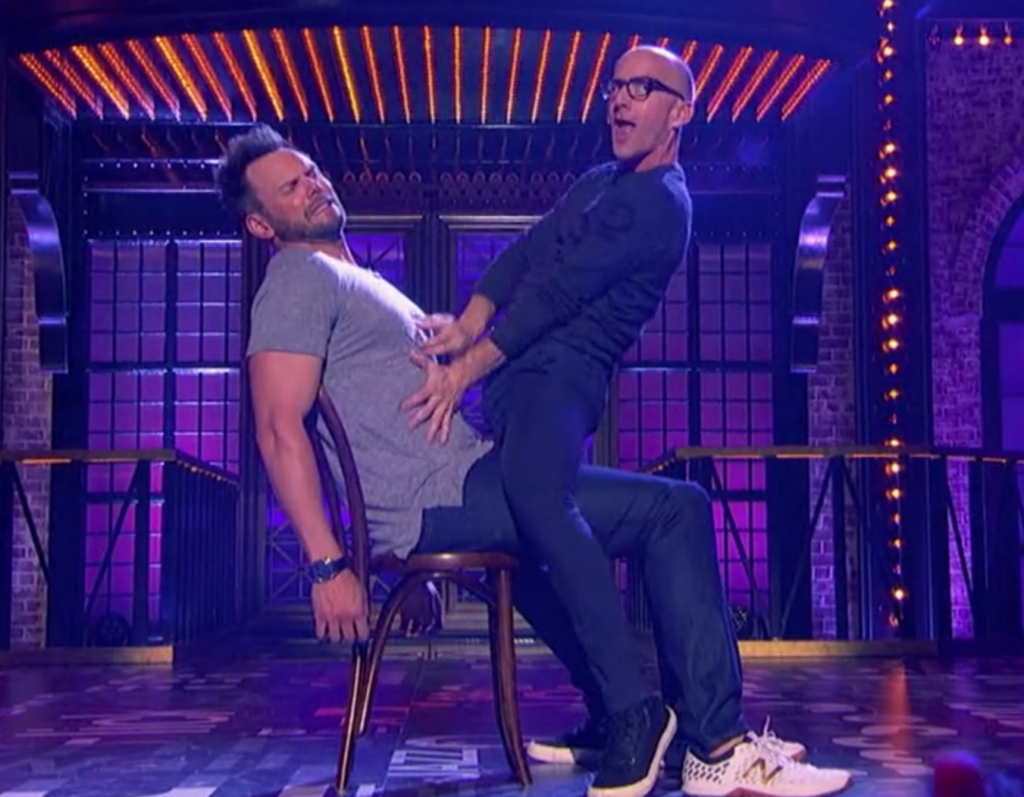 "Jim Rash's ""seduction"" of Joel McHale to ""Something He Can Feel."""