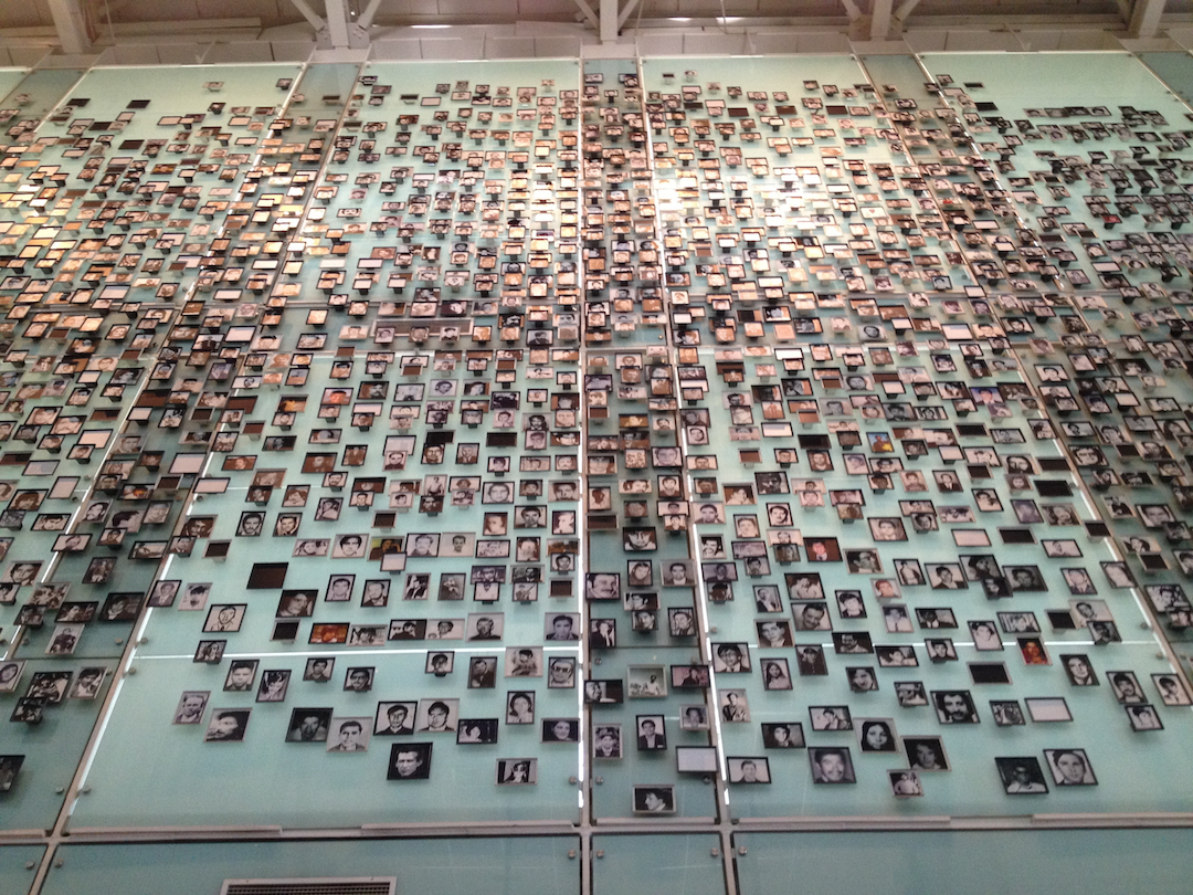 The Wall of the Disappeared in Santiago's Mueseo de la Memoria y los Derechos Humanos (Memory and Human Rights Museum)