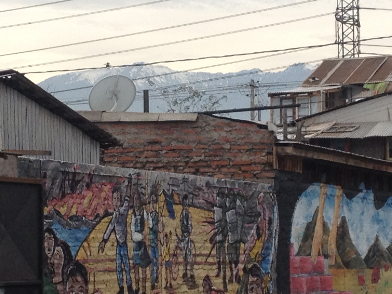 A view of the Andes from the streets of La Victoria.