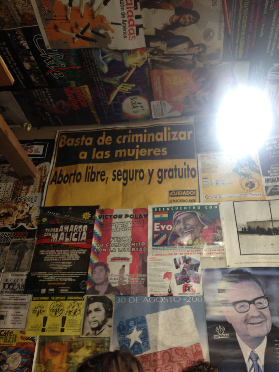 The walls of Señal 3, covered from floor to ceiling with posters.