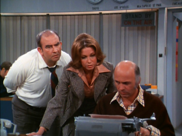Lou Grant, Mary Richards, and Murray Slaughter in WJM Newsroom
