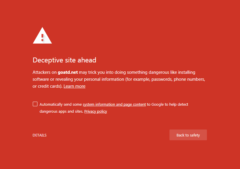 Malware Warning Image