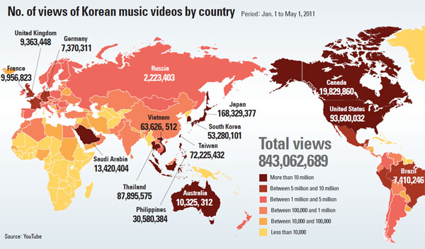 YouTube map published in Joong Ang Daily on 9/15/2011.