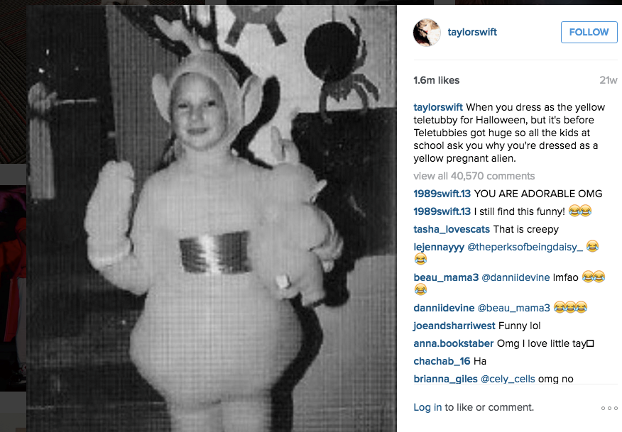 Childhood photo of Taylor Swift dressed as a Teletubby