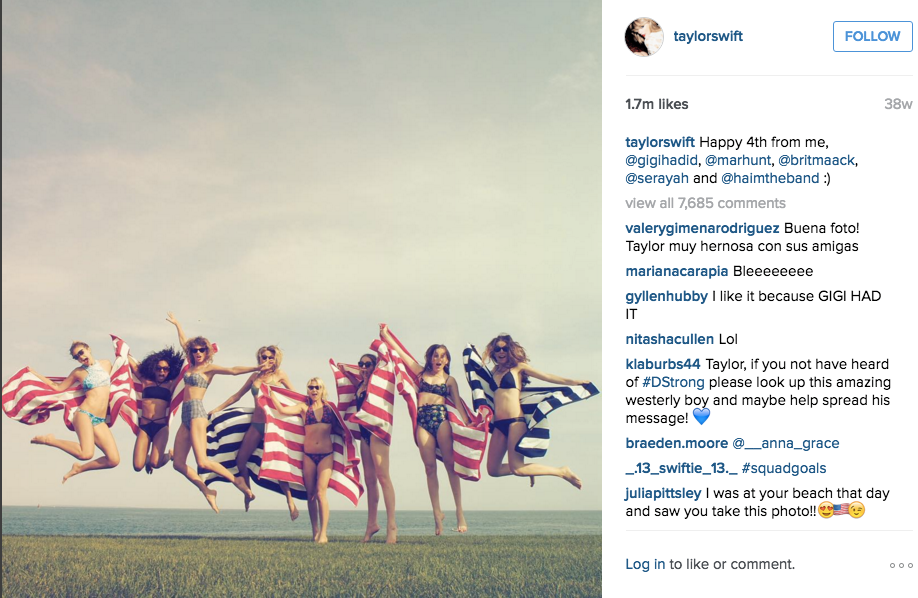 Taylor Swift and other celebrities on the beach