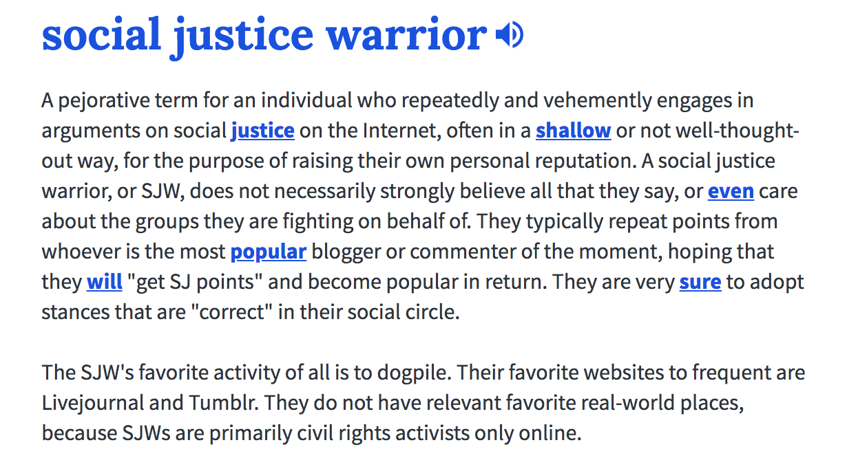 social justice warrior definition
