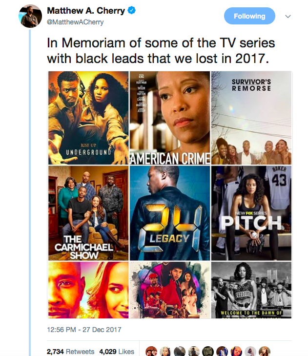 tweet about cancelled black tv shows