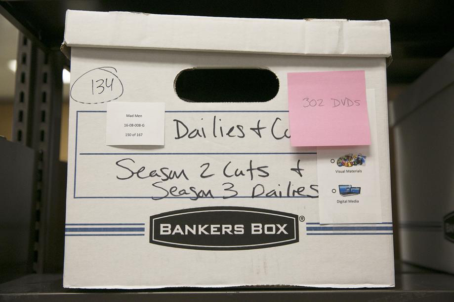 One of one-hundred-and-fifty bankers boxes of materials to be catalogud