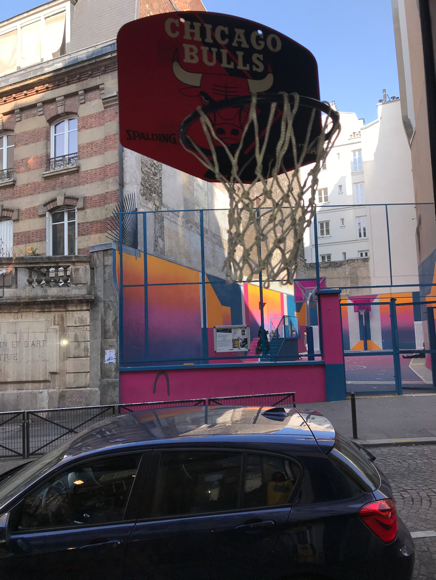 A view from inside of the Pigalle Basketball shop