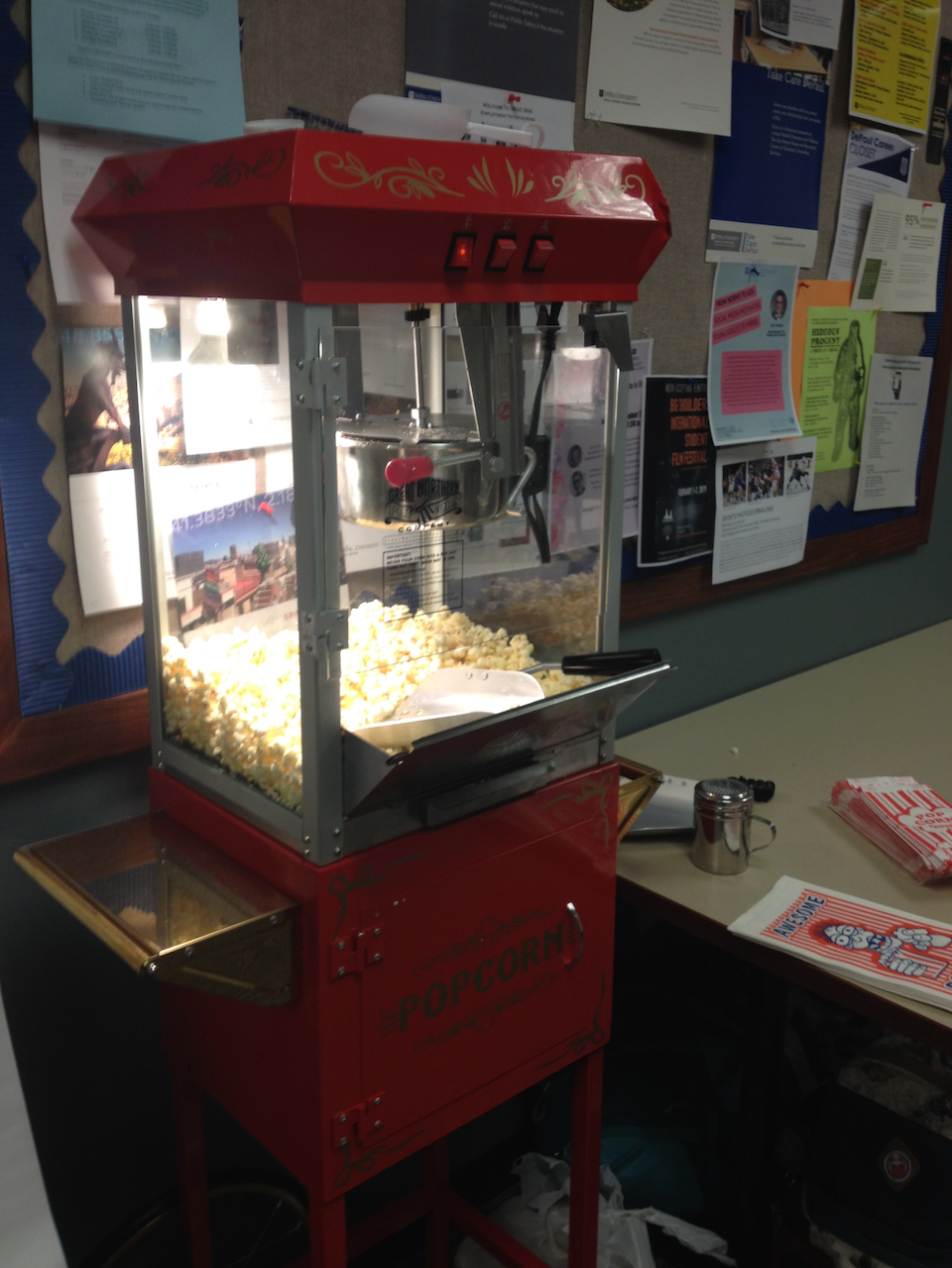Dr. Paul Booth's popcorn machine at the inaugural Fan Studies Network-North America Conference.