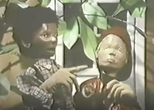 Two of the nightmare-inducing child puppets with freakishly large hands from Vegetable Soup (Season 1, Episode 1). Good luck sleeping ever again.