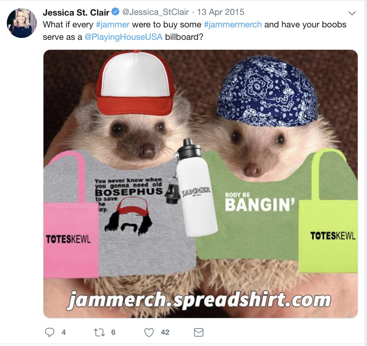 Screenshot of Jessica St. Clair's Twitter account