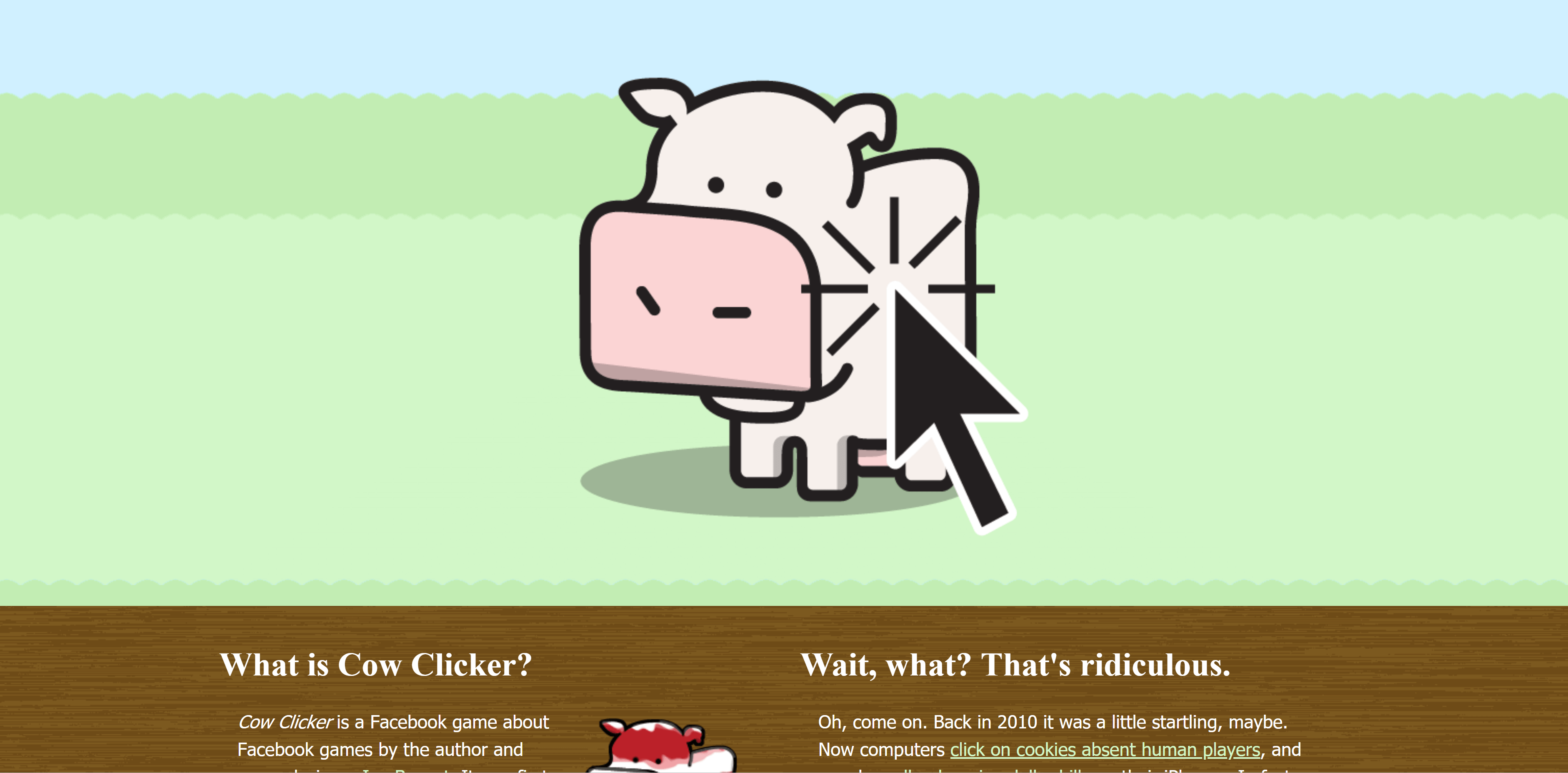 Ian Bogost's Runaway hit idle game parody, Cow Clicker