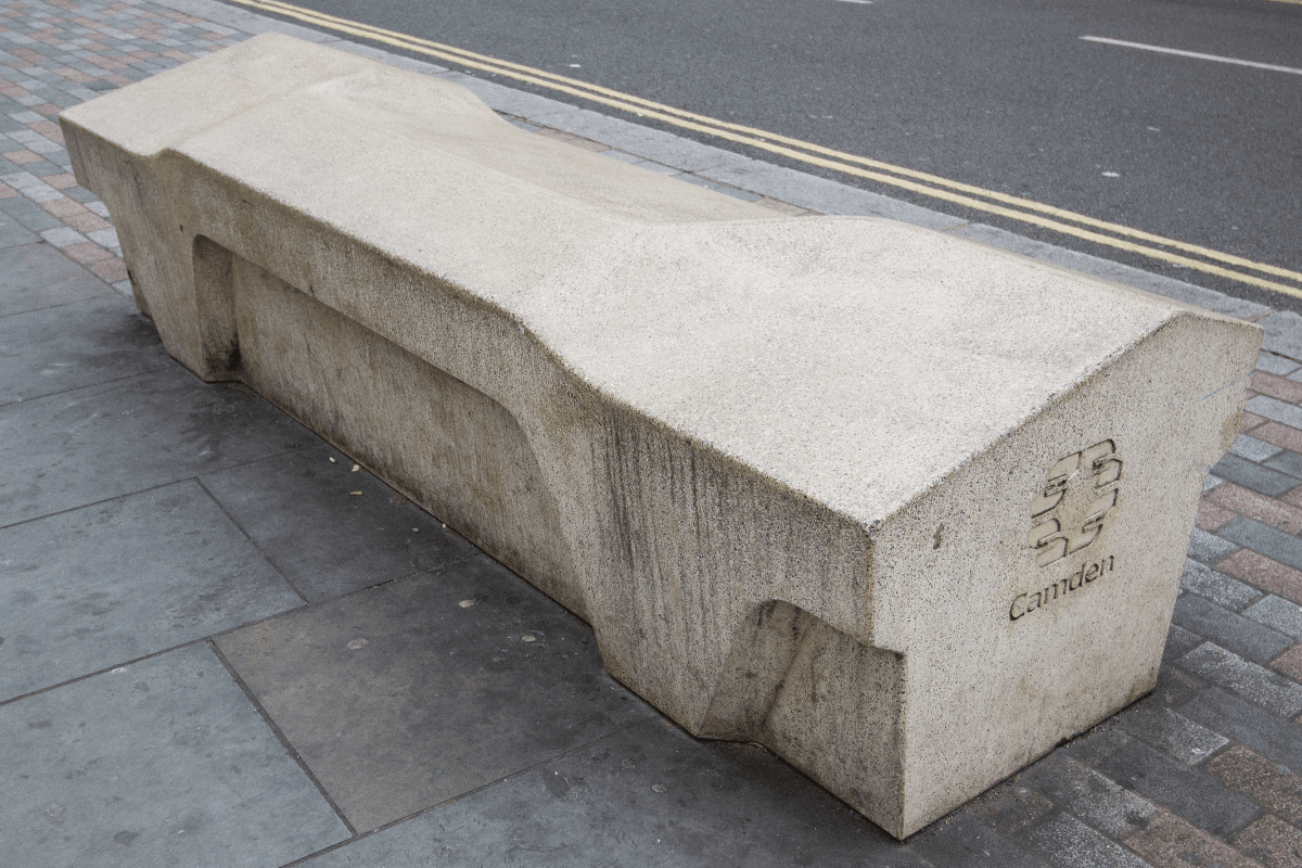 The Camden Bench is an exemplary case of hostile architecture discouraging a range of behaviours and publics