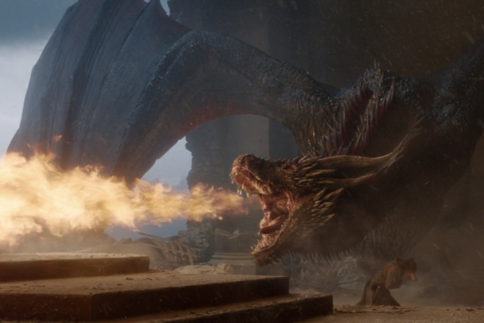 Drogon torches the throne