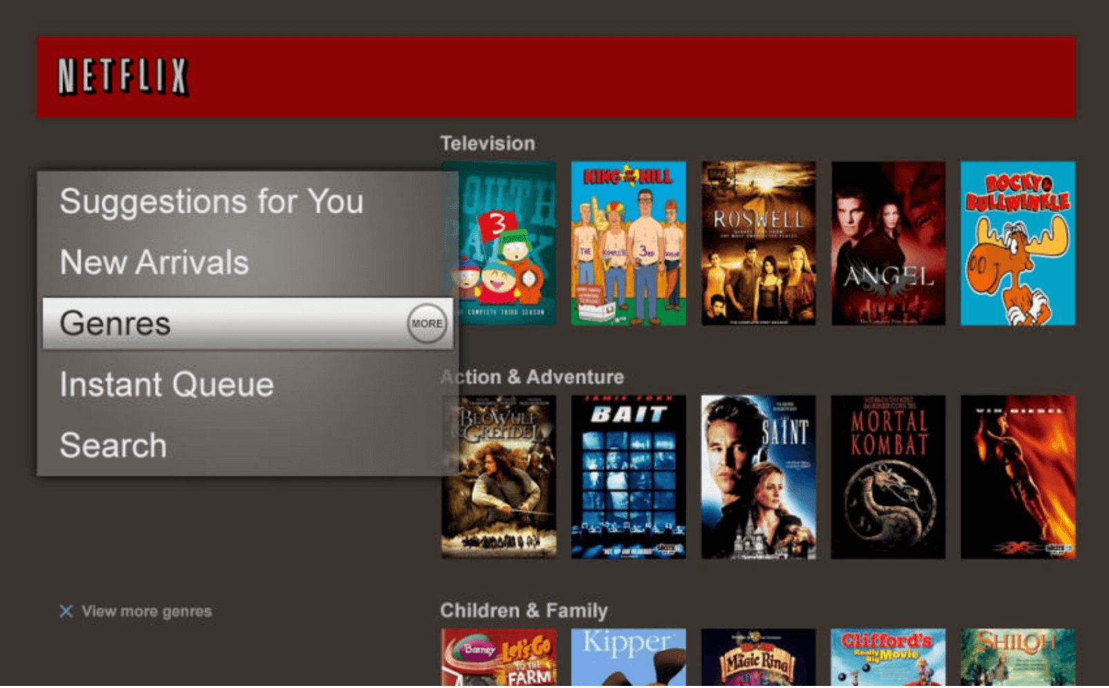 Netflix's user interface in 2010