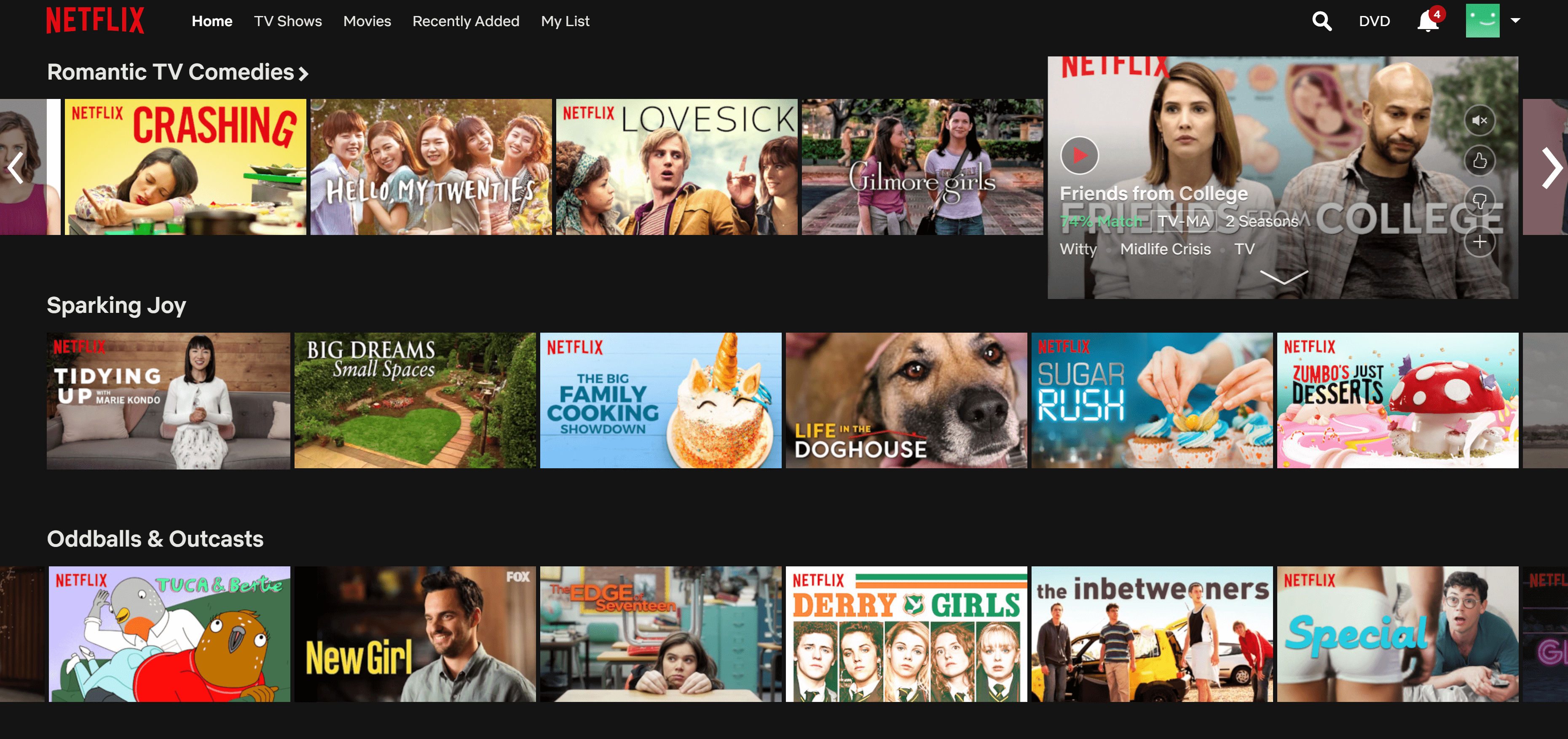 Netflix's pleasantly categorized catalog