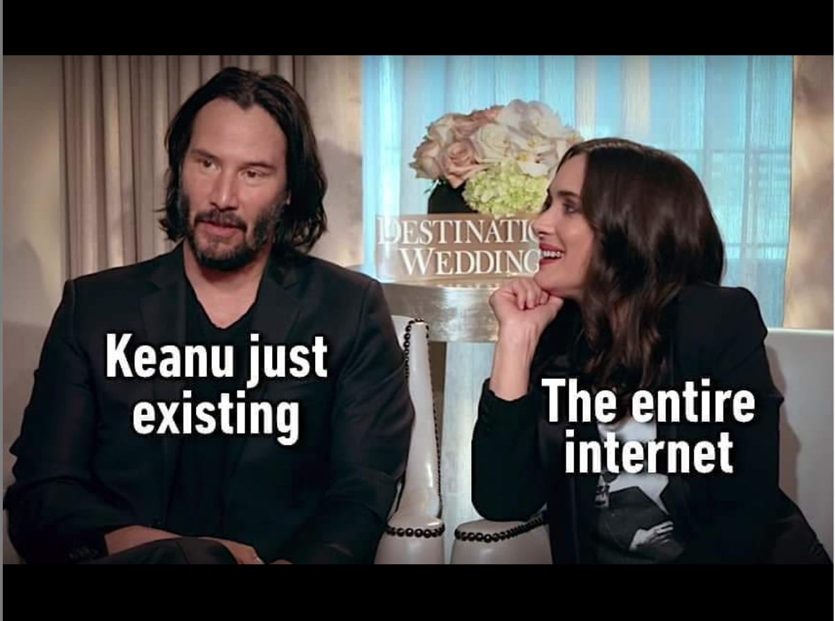 A meme featuring Winona Ryder and Keanu