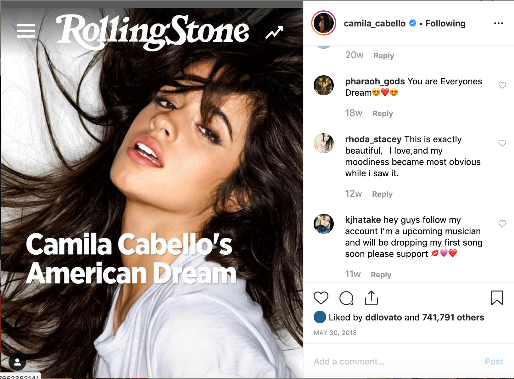 Camila shares her Rolling Stone Cover Story on Instagram