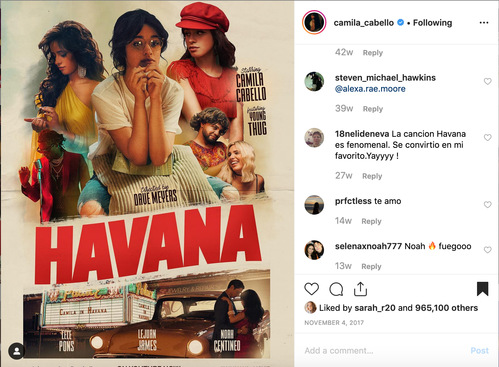 Camila Cabello previews Havana the Movie on Instagram