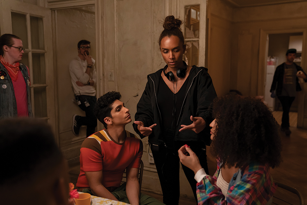 Janet Mock talks to Actors on set