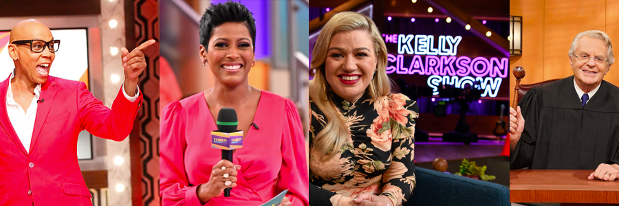 RuPaul, Tamron Hall, Kelly Clarkson, and Jerry Springer from their new talk shows