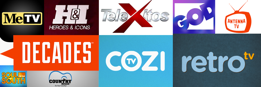 Logos of a few of today's over-the-air networks, like MeTV