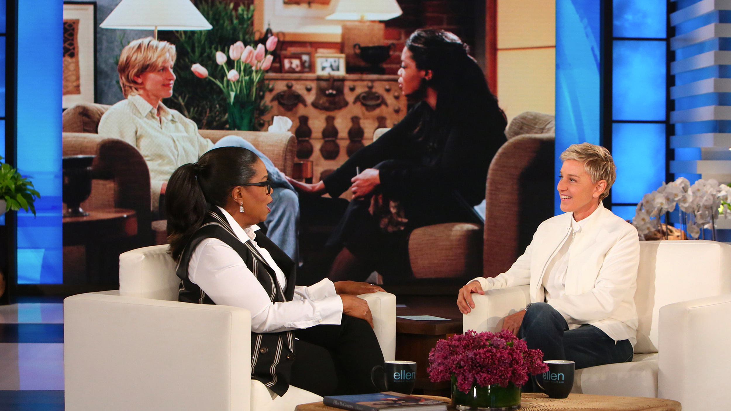 Oprah Winfrey and Ellen DeGeneres on The Ellen DeGeneres Show