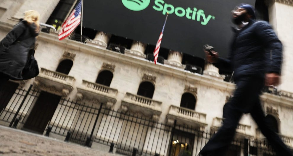 Spotify banner outside NYSE on opening day
