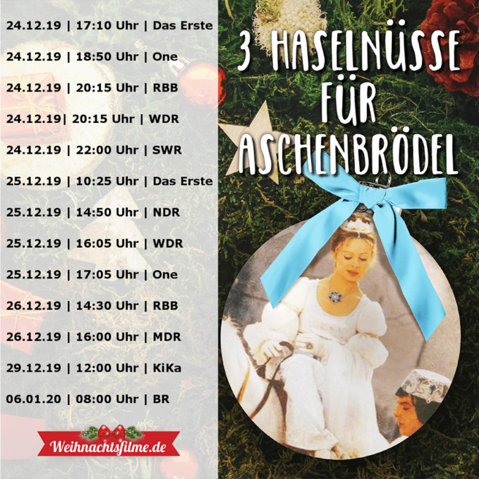 The 2019 programming schedule for Drei Haselnüsse für Aschenbrödel