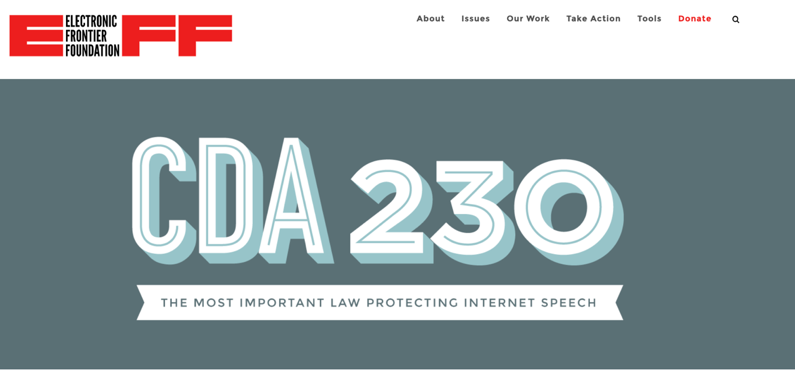 screen grab of the electronic frontier foundation's CDA page