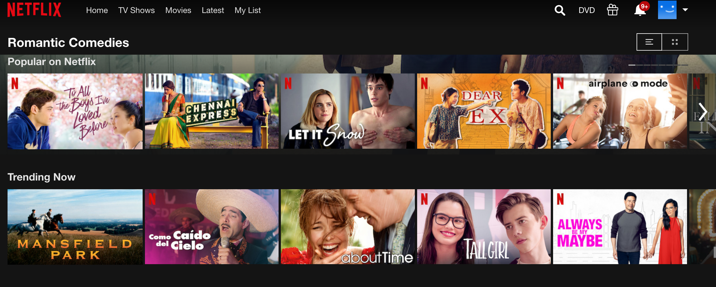 Author's screenshot of the Romantic Comedy category on Netflix