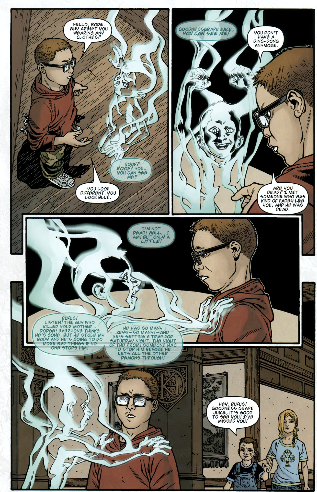 Rufus Whedon speaks with Bodie Locke's specter in the comic