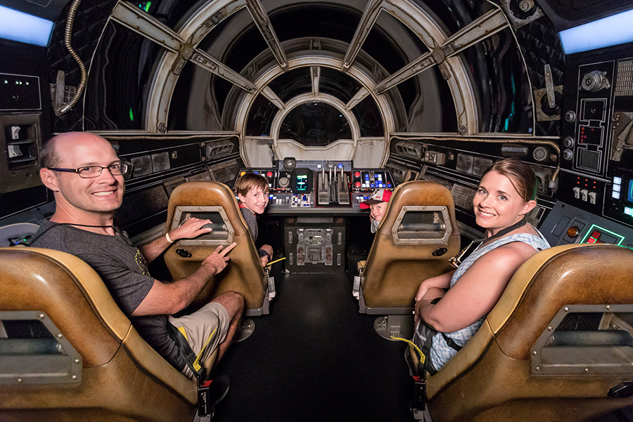 Photo of the 1 millionth rider on the Millennium Falcon ride at Galaxy's Edge