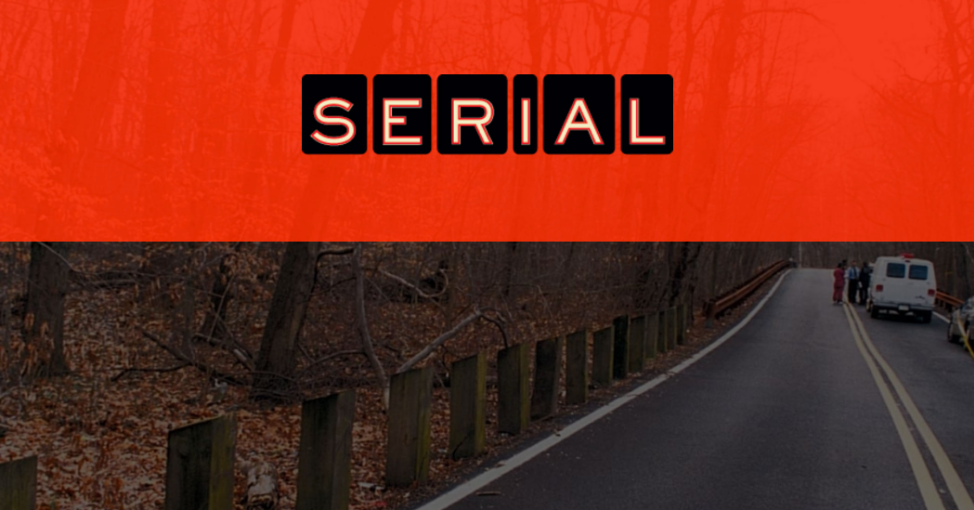 crime scene photo overlain with Serial's logo