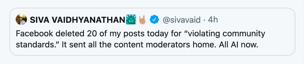 Professor Vaidhyanathan's Tweet