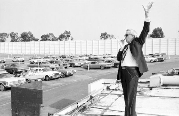 Pioneer of drive-in church services, Rev. Robert Schuller, at the Orange Drive-in Theatre, 1978