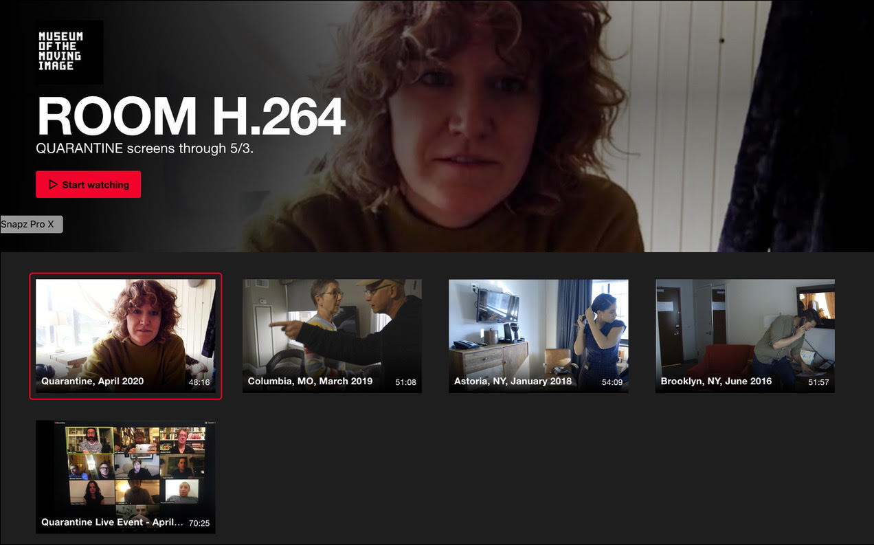 ROOM H.264: Quarantine, April 2020 and previous ROOM H.264 films are available on a dedicated Vimeo page