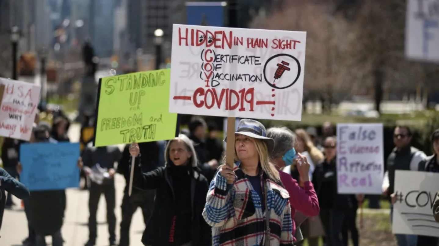 An anti-vaccine protester in Toronto