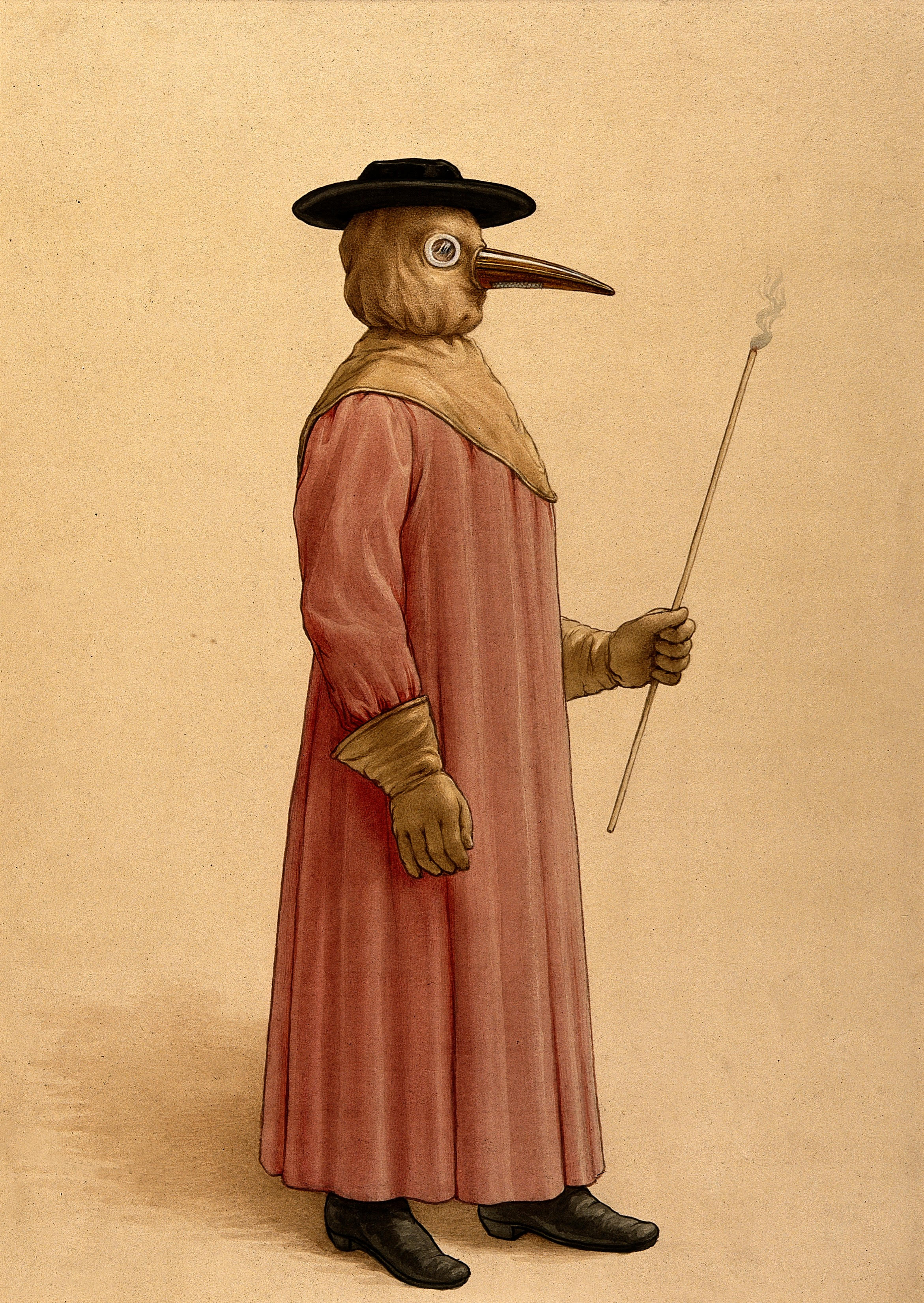 A physician wearing a seventeenth century plague preventive costume, 17th century