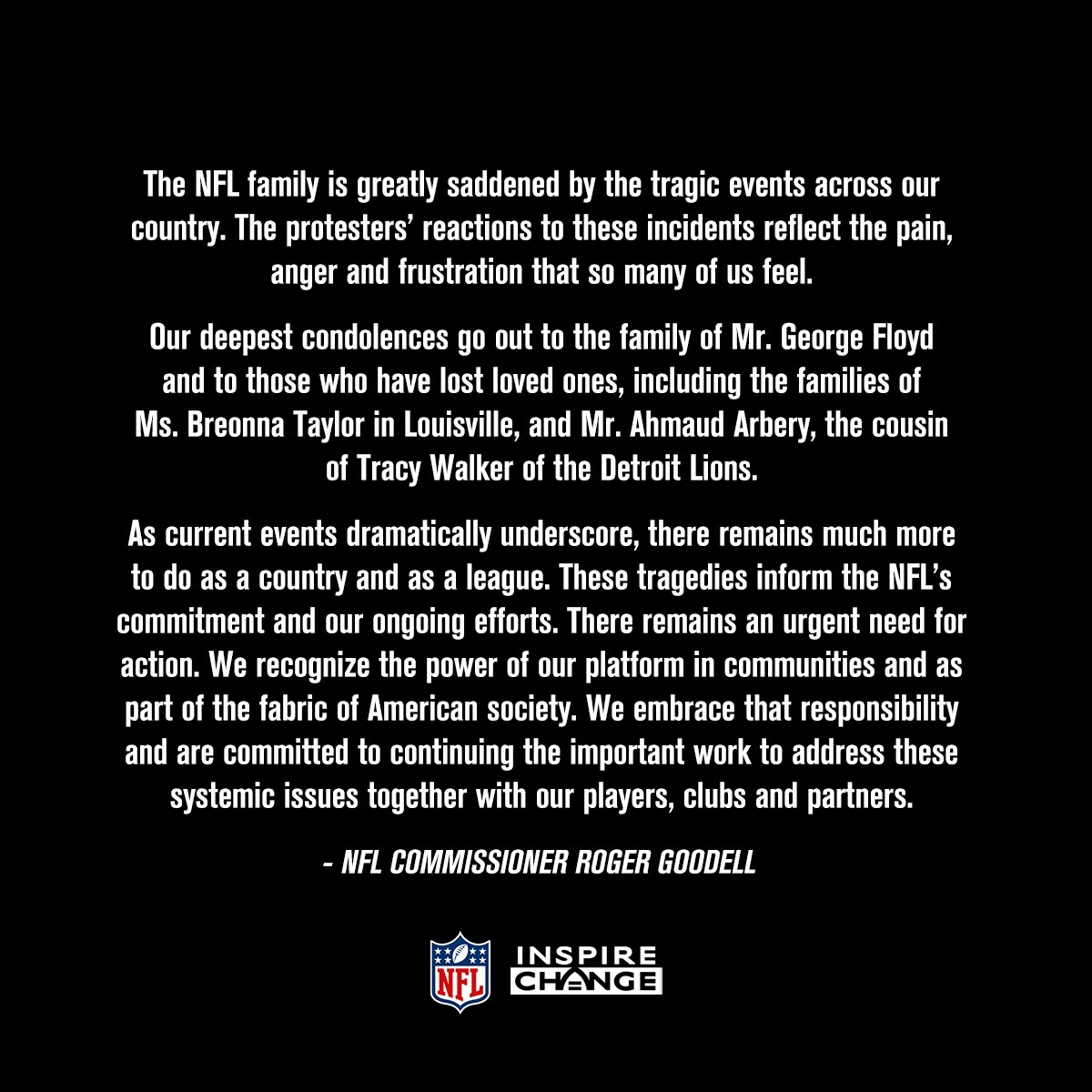 NFL statement