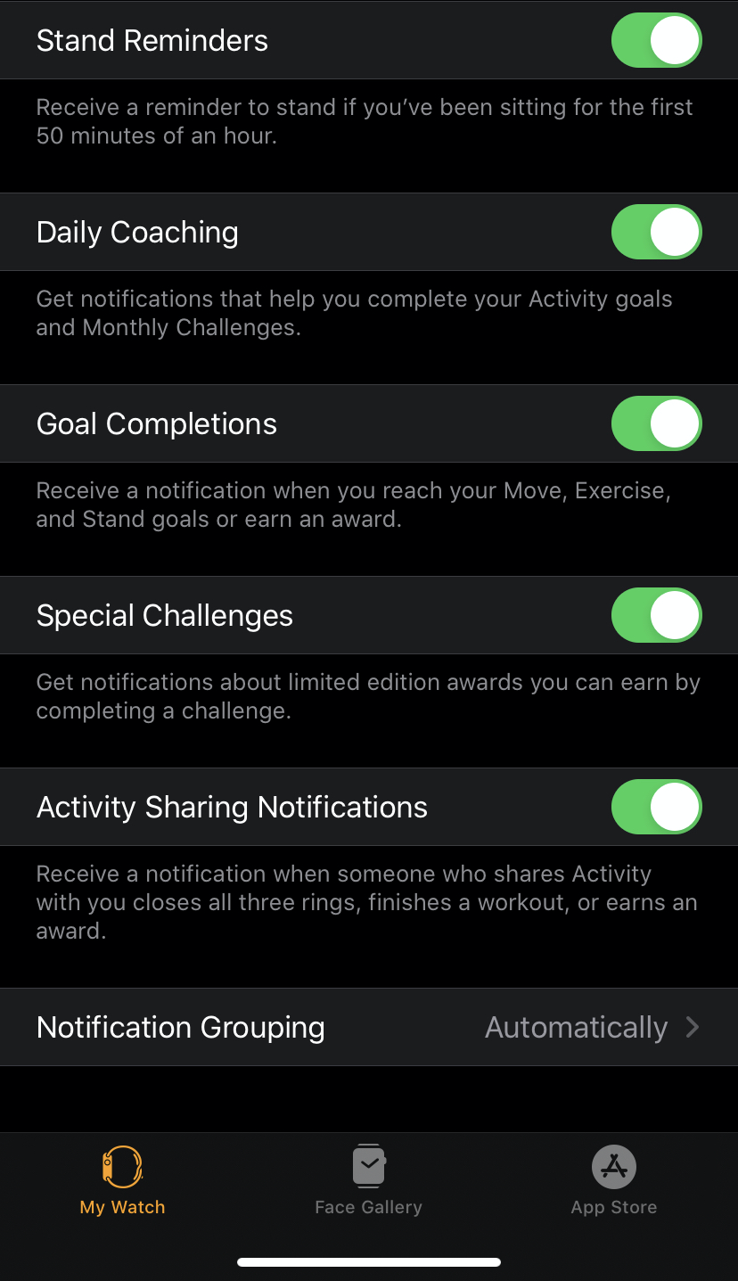 The notification settings for my Activity app.