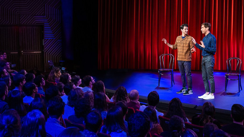 Comedians Thomas Middleditch and Ben Schwartz perform improv comedy in their Netflix special