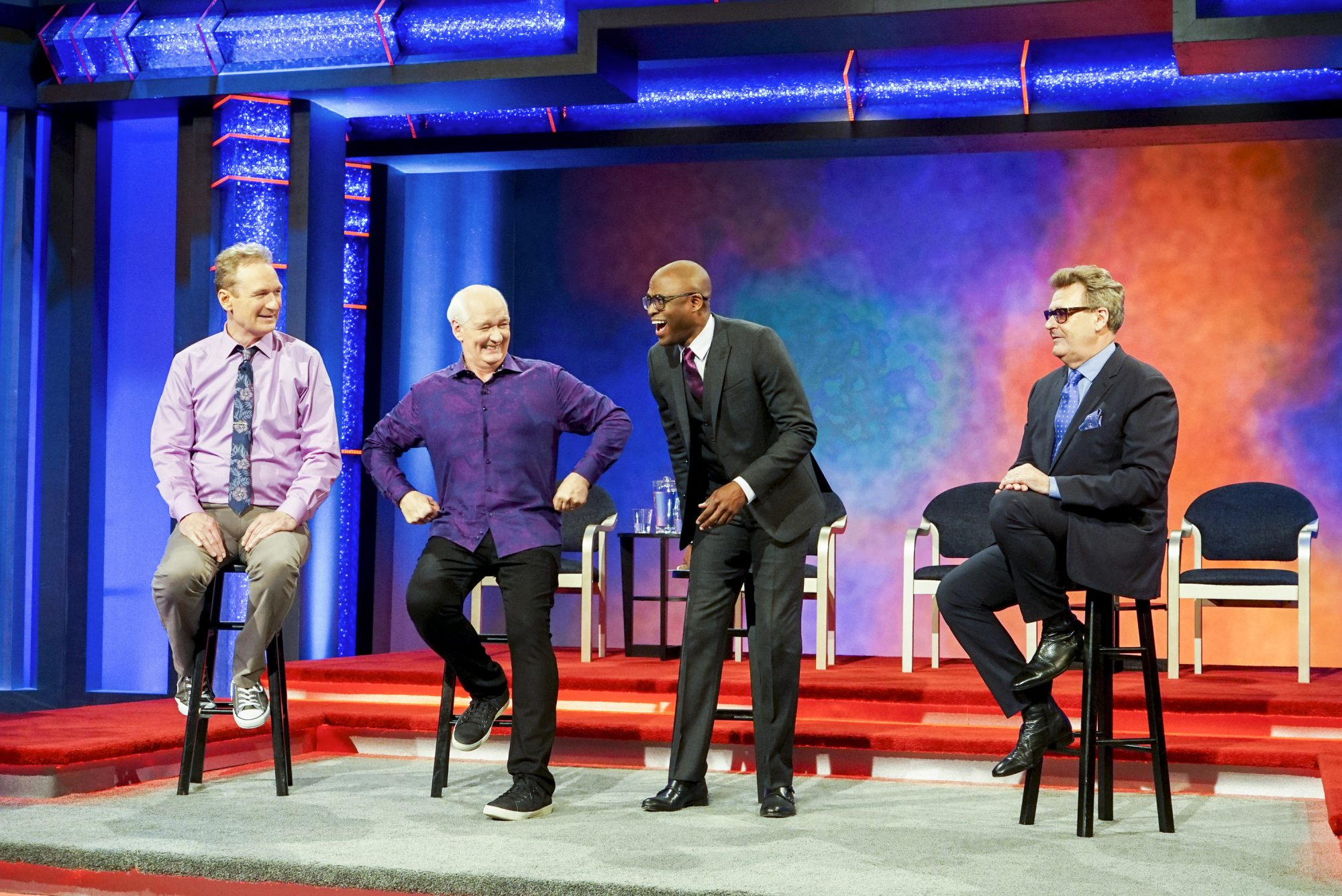 Comedians perform short-form improv on the popular program Whose Line is it Anyway?