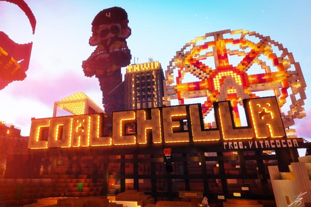 Screenshot of the custom in-game structure built for Open Pit's Coalchella 2018.