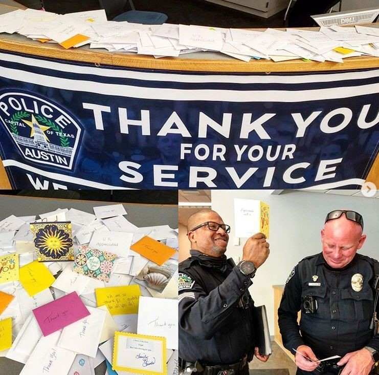 Picture posted by APD of suspicious thank you notes.