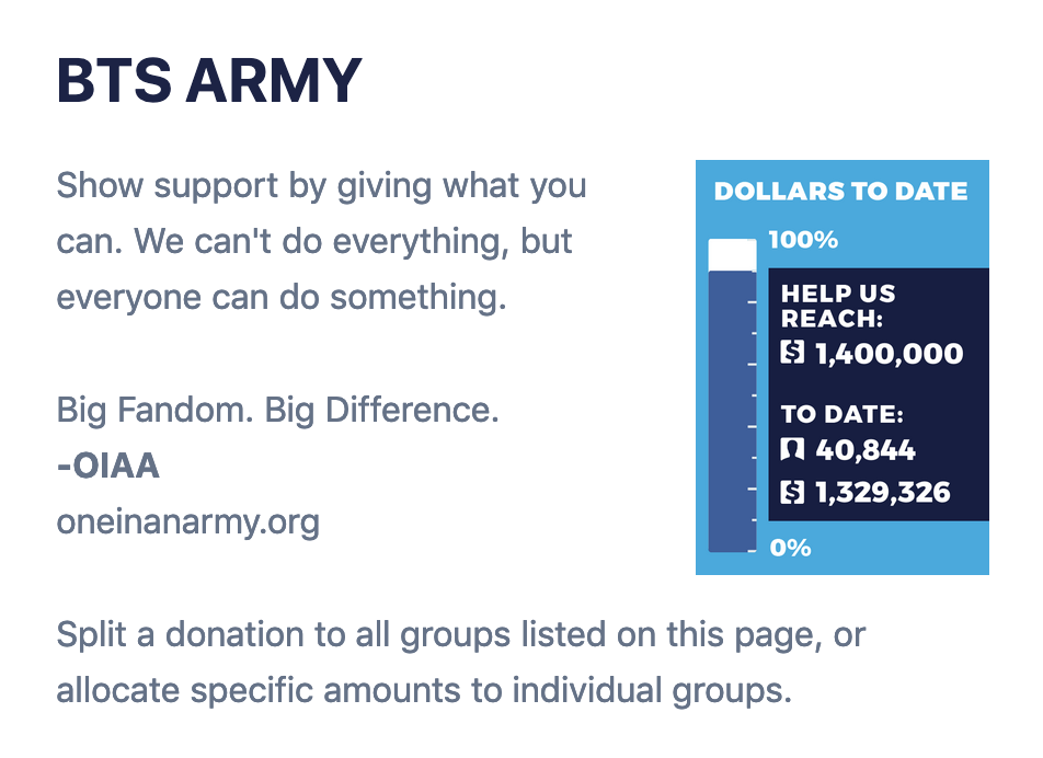 page for BTS fans to donate to Black Lives Matter groups