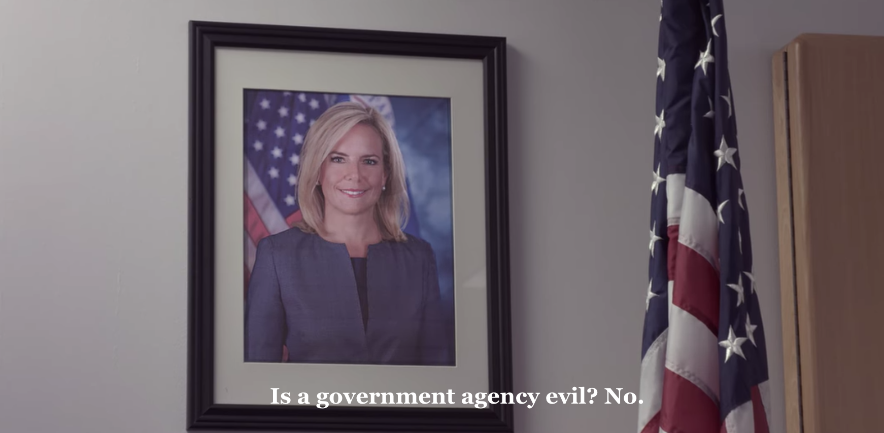 Screen capture of Kirstjen Nielsen from Immigration Nation