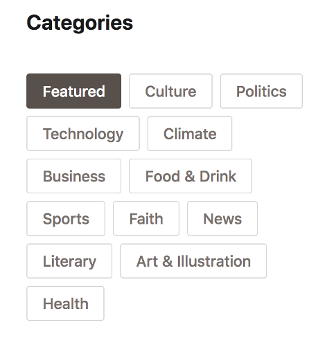 A screen capture of Substack's Categories page, with buttons including Featured, Culture, and Politics