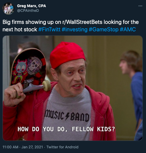 A Twitter user pointing out the invasion of institutional investors into meme stocks